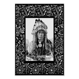 Vintage Art Poster Native American Crow Chief