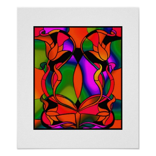 Vintage Art Poster Stained Glass Colorful Poster