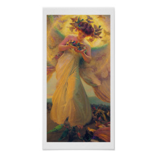 Vintage Art Poster - The angel of the birds