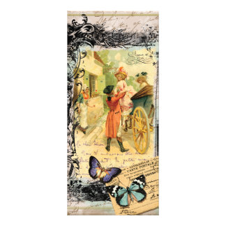 Vintage Art Print 18th Century Couple Carriage Rack Card