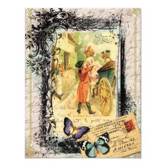 Vintage Art Print 18th Century Couple Invitation
