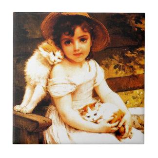 """Vintage Art Print """"Girl with Kittens"""" by Munier Ceramic Tile"""