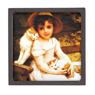"Vintage Art Print ""Girl with Kittens"" by Munier Gift Box"