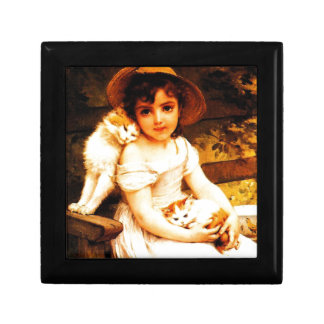 """Vintage Art Print """"Girl with Kittens"""" by Munier Jewelry Box"""