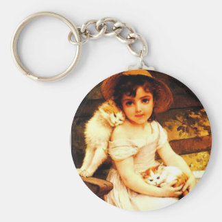 "Vintage Art Print ""Girl with Kittens"" by Munier Keychain"