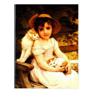 "Vintage Art Print ""Girl with Kittens"" by Munier Postcard"