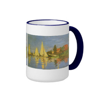 Vintage Art, Regatta at Argenteuil by Claude Monet Ringer Coffee Mug