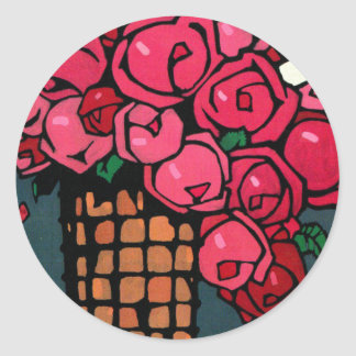 Vintage Art: Roses - Ludwig Hohlwein Round Stickers