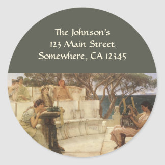 Vintage Art, Sappho and Alcaeus by Alma Tadema Classic Round Sticker