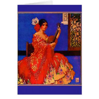 Vintage Art Senorita with Guitar Notecards Card