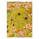 Vintage Art Spider web in flowering tree Greeting Card