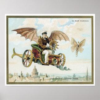 vintage art steam punk flying machines poster