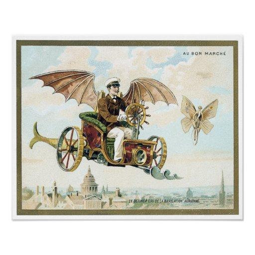 vintage art steam punk flying machines posters