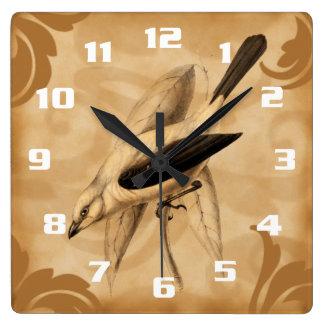 Vintage Art Stylish and Elegant Birds Square Wall Clock