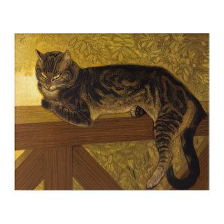 Vintage Art Summer Cat on Balustrade