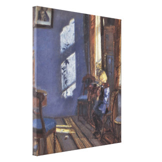 Vintage Art, Sunshine in the Blue Room by Ancher Canvas Print