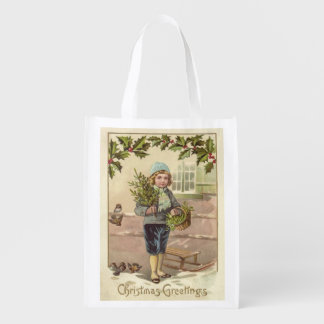 Vintage Art Victorian Christmas Boy with a Sled Reusable Grocery Bag