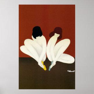Vintage Art Villemot Bally Lotus Poster Print
