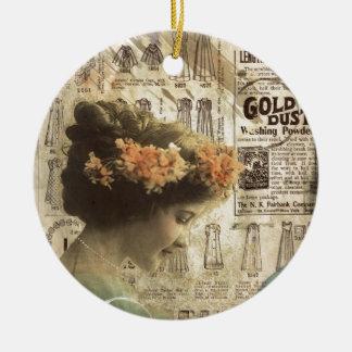 Vintage Art Vintage Woman Fashion Ads Ceramic Ornament