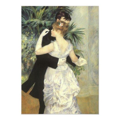 "Vintage Art Wedding, City Dance by Renoir 5"" X 7"" Invitation Card"