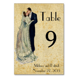 Vintage Art Wedding Table Card