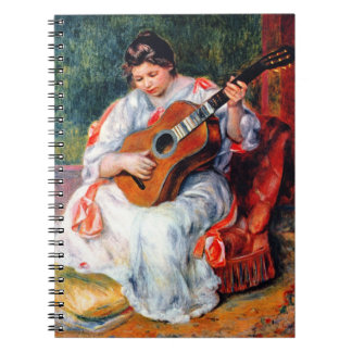 Vintage Art, Woman Playing The Guitar by Renoir Note Book