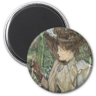 Vintage Art, Woman with Gloves by Toulouse Lautrec 2 Inch Round Magnet