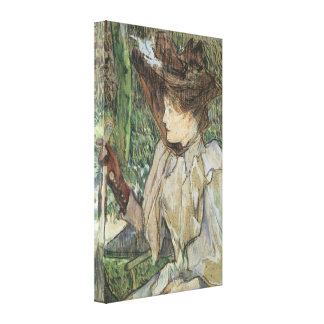 Vintage Art, Woman with Gloves by Toulouse Lautrec Canvas Print