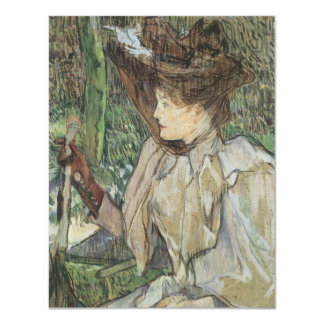 Vintage Art, Woman with Gloves by Toulouse Lautrec Card