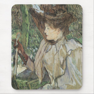 Vintage Art, Woman with Gloves by Toulouse Lautrec Mouse Pad