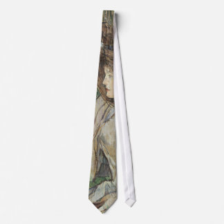 Vintage Art, Woman with Gloves by Toulouse Lautrec Neck Tie