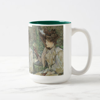 Vintage Art, Woman with Gloves by Toulouse Lautrec Two-Tone Coffee Mug