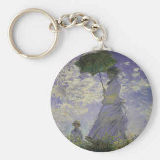 Vintage Art, Woman with Parasol by Claude Monet Basic Round Button Keychain