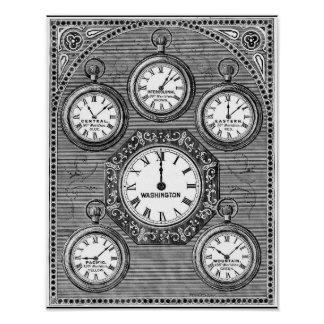 vintage art world clocks time zones wall posters