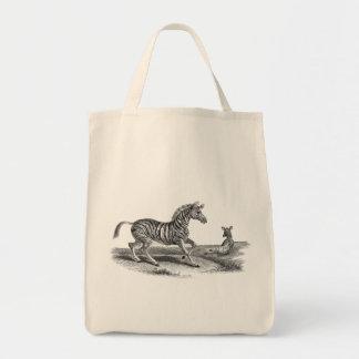 Vintage Art Zebra And Foal Animal Tote Bag