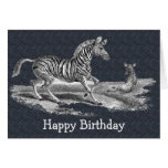 Vintage Art Zebra And Foal Nature Birthday Card