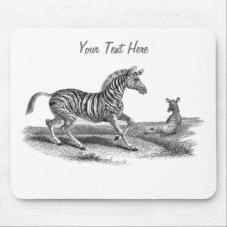 Vintage Art Zebra Mare And Foal Wildlife Mousepad