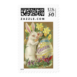 Vintage Artist Easter Bunny Painting Egg Postage