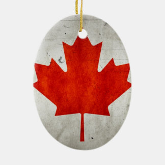 Vintage Artistic Grunge Canadian Flag Double-Sided Oval Ceramic Christmas Ornament