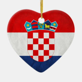 Vintage Artistic Grunge Croatia Flag Double-Sided Heart Ceramic Christmas Ornament