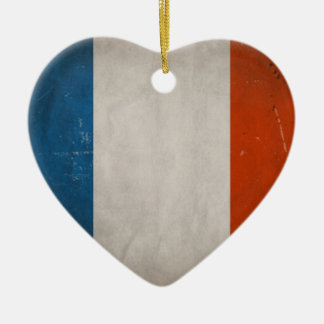 Vintage Artistic Grunge France Flag Double-Sided Heart Ceramic Christmas Ornament