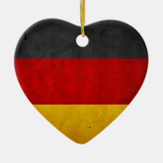Vintage Artistic Grunge Germany Flag Double-Sided Heart Ceramic Christmas Ornament