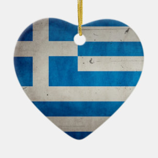 Vintage Artistic Grunge Greece Flag Double-Sided Heart Ceramic Christmas Ornament