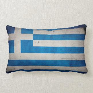 Vintage Artistic Grunge Greece Flag Lumbar Pillow