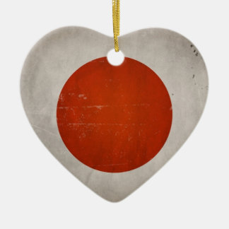 Vintage Artistic Grunge Japan Flag Double-Sided Heart Ceramic Christmas Ornament