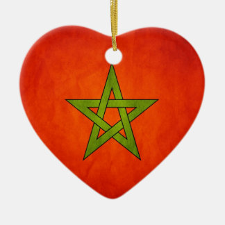 Vintage Artistic Grunge Morocco Flag Double-Sided Heart Ceramic Christmas Ornament