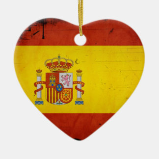 Vintage Artistic Grunge Spain Flag Double-Sided Heart Ceramic Christmas Ornament