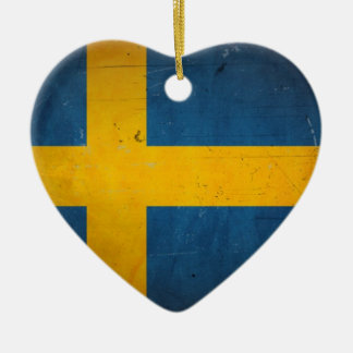 Vintage Artistic Grunge Sweden Flag Double-Sided Heart Ceramic Christmas Ornament