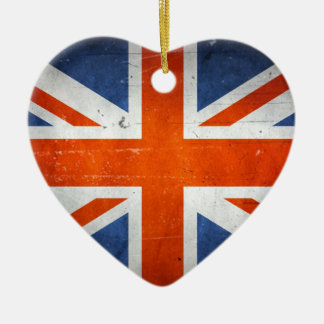 Vintage Artistic Grunge UK Flag Double-Sided Heart Ceramic Christmas Ornament