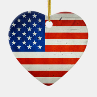 Vintage Artistic Grunge USA Flag Double-Sided Heart Ceramic Christmas Ornament
